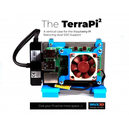 TerraPi Raspberry Pi Case with SSD or HDD 2.5″ support / Pi NAS Server Case with FAN Hat